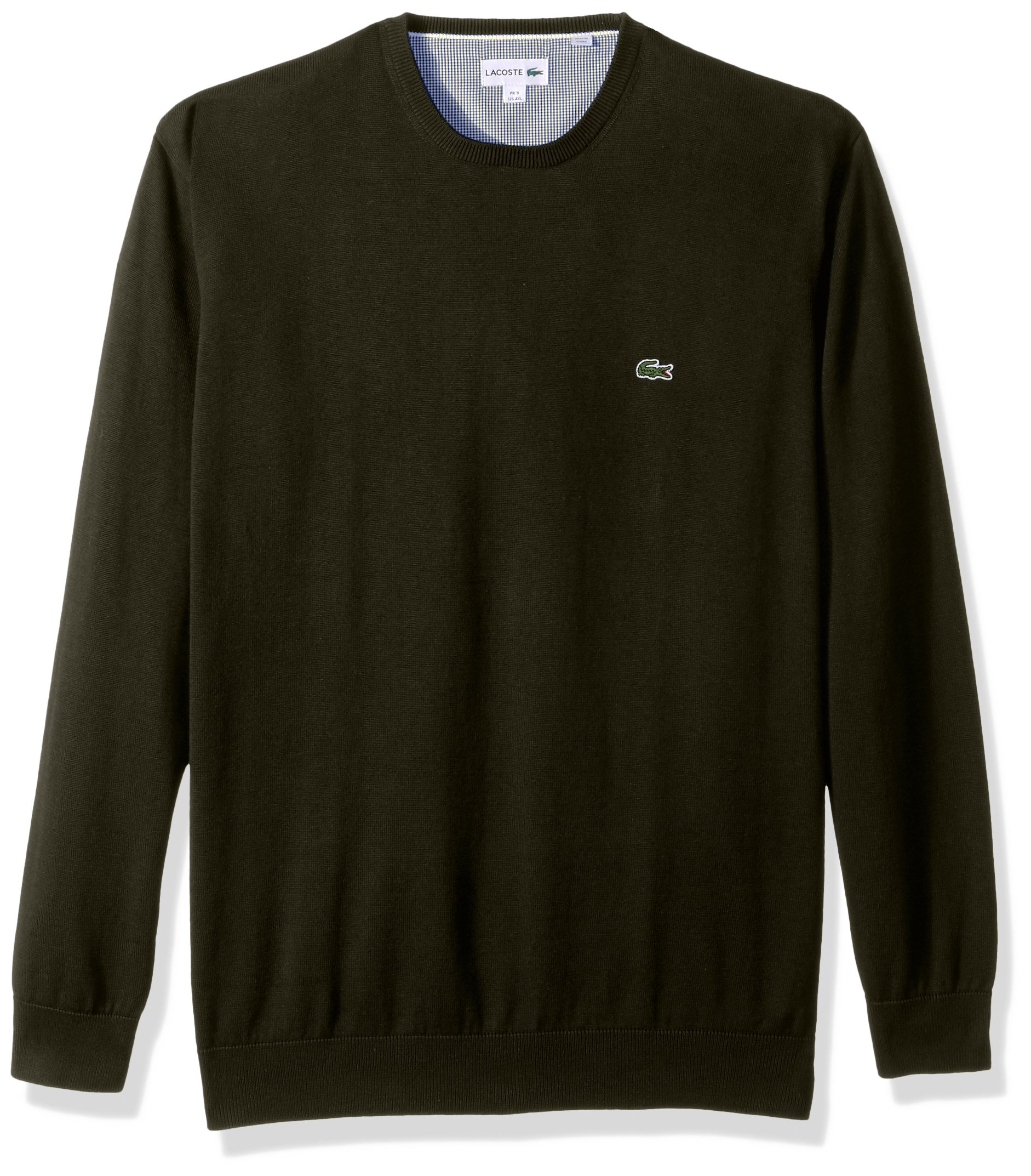 Lacoste Men's Crewneck Cotton Jersey Sweater With Green Croc, Sherwood, 9