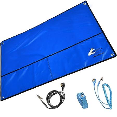 Minadax® Antistatikmatte ESD SET, Handgelenksschlaufe und Erdungskabel (Blau XXL 60x80 cm)