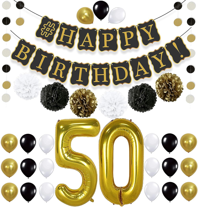 Amazon Black 50th Birthday Decorations Party KIT
