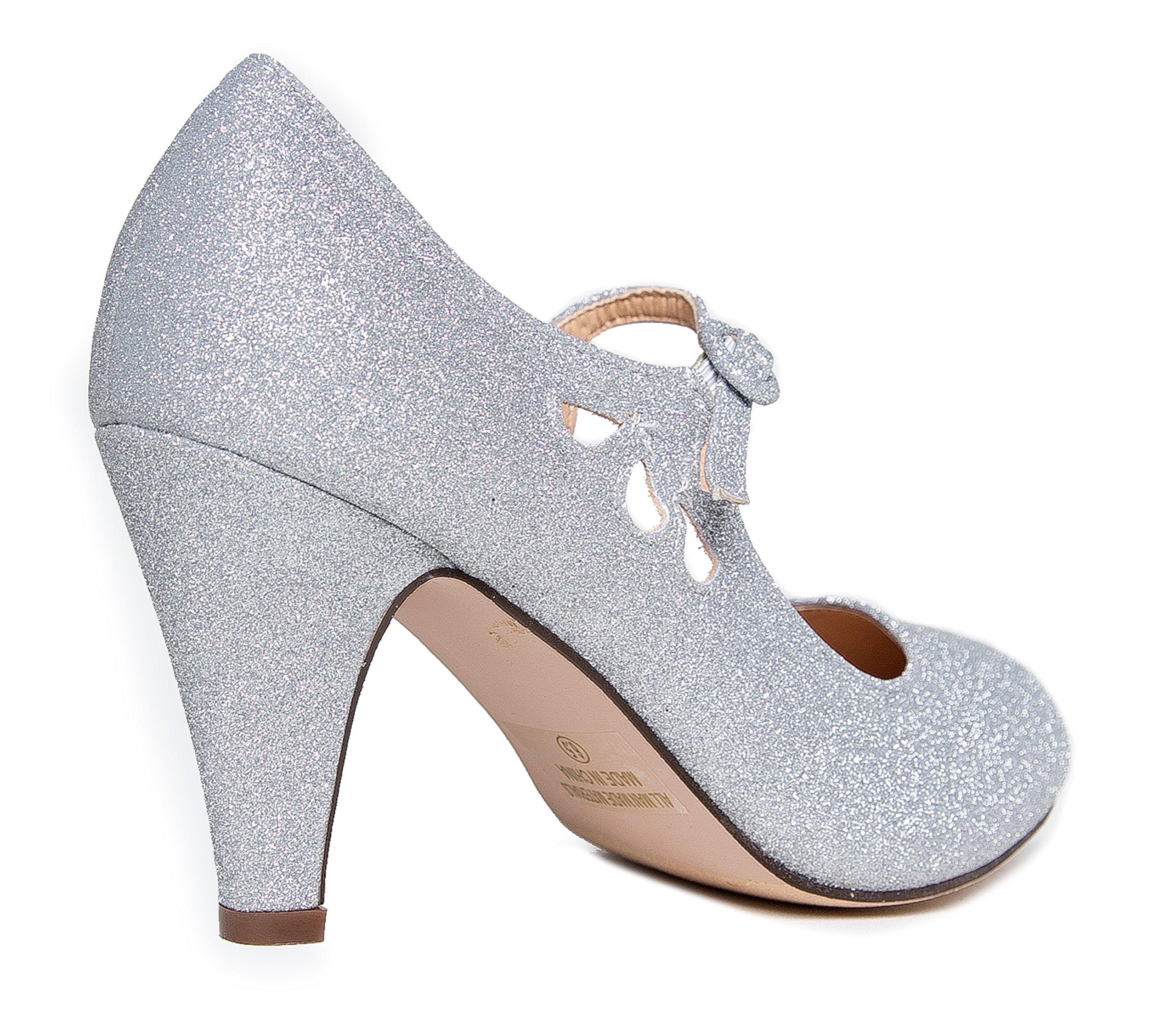 Pixie Mary Jane Heel, Silver Glitter, 8 B(M) US by ZooShoo (Image #3)