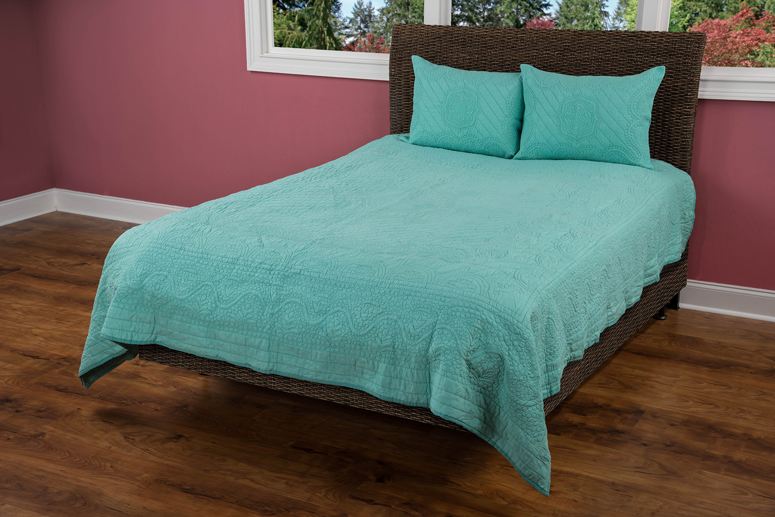 Rizzy Home QLTBT1793AA001692 Moroccan Fling Quilt,Aqua,King