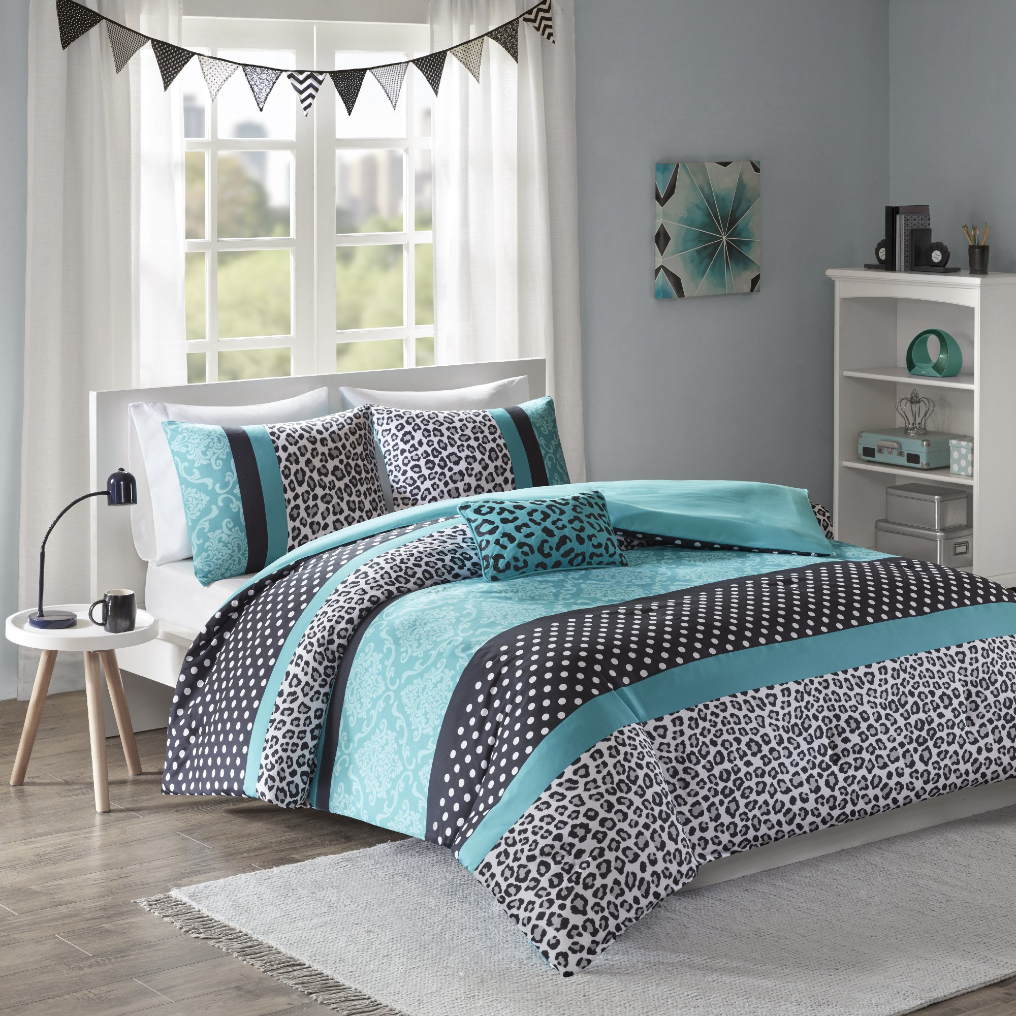Mi-Zone Chloe Teen Girls Duvet Cover Set Full/Queen Size - Teal, Polka Dots, Damask, Leopard – 4 Piece Duvet Covers Bedding Sets – Ultra Soft Microfiber Girls Bedding Bed Sets