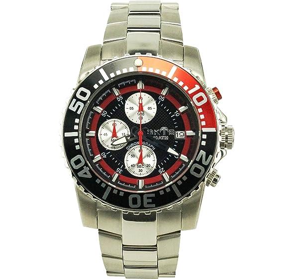 Skye Racer negro Dial Analog-Quartz - Reloj para hombres color rojo: Skye: Amazon.es: Relojes