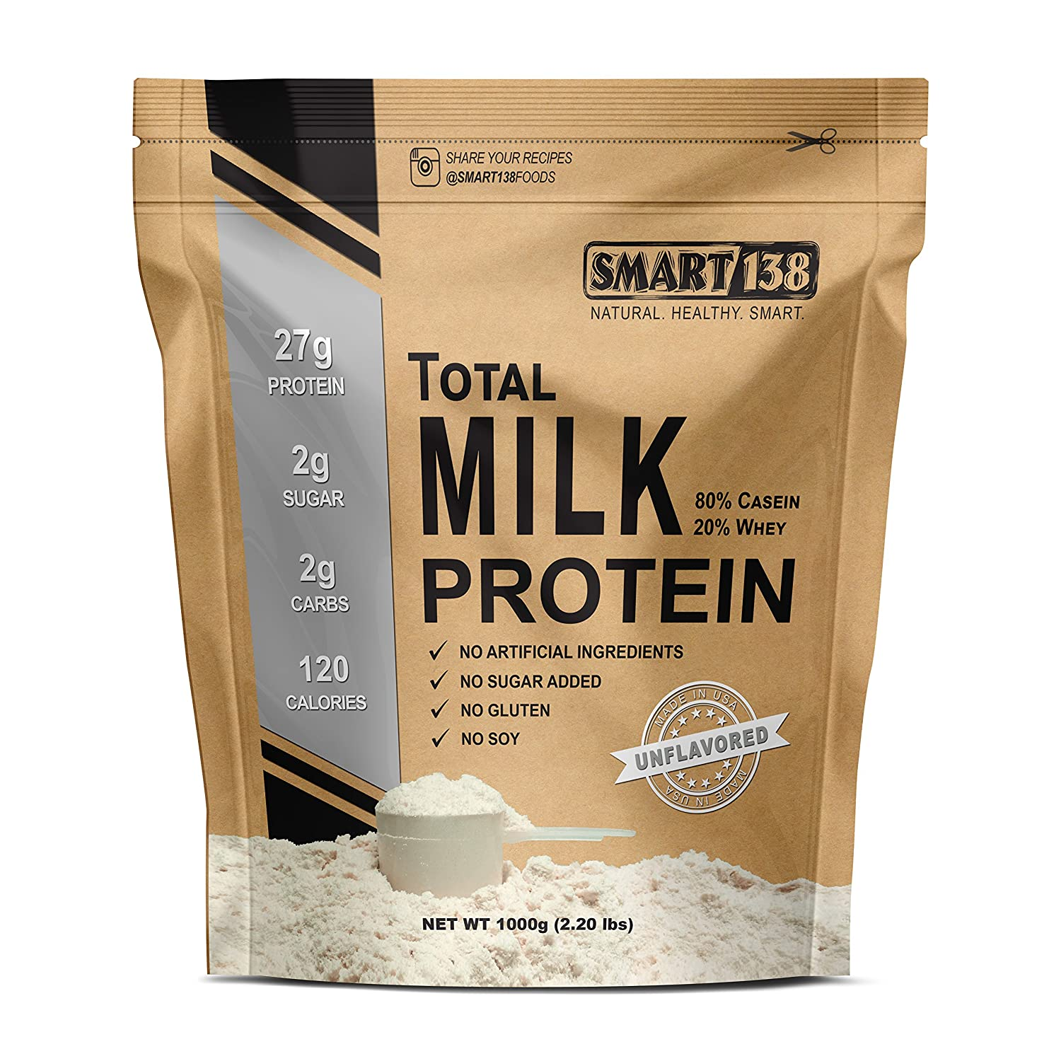 Total Milk Protein 80 Casein 20 Whey Gluten-Free, Soy-Free, Non-GMO, USA, Keto Low Carb, Natural BCAAs 1000g 2.2lbs, Unflavored