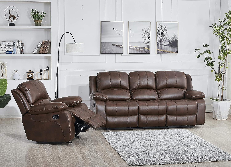 Betsy Furniture Bonded Leather Recliner Set Living Room Set, Sofa, Loveseat, Chair 8018 (Brown, Living Room Set 3+1)
