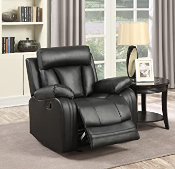 Amazing Meridian Furniture 645BL C Avery Plush Leather Chair Glider Recliner, Black