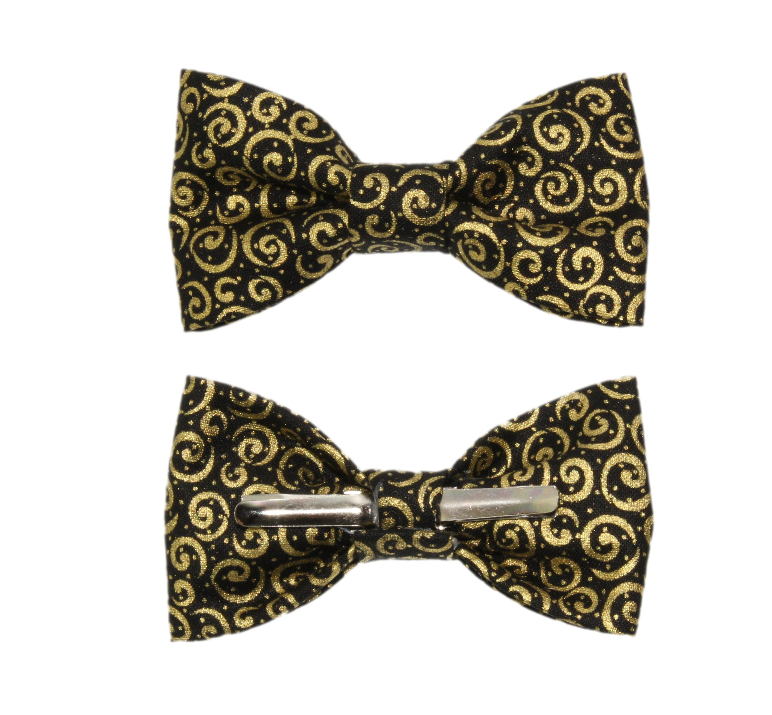 Toddler Boy 4T 5T Black With Gold Scrolls Clip On Cotton Bow Tie by amy2004marie by amy2004marie (Image #1)