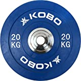 Kobo 51 mm Bumper Plates Competition Level Olympic Barbell Bar Weight Plate with Machined Steel Collar Elite (Imported) - Sold in Pairs