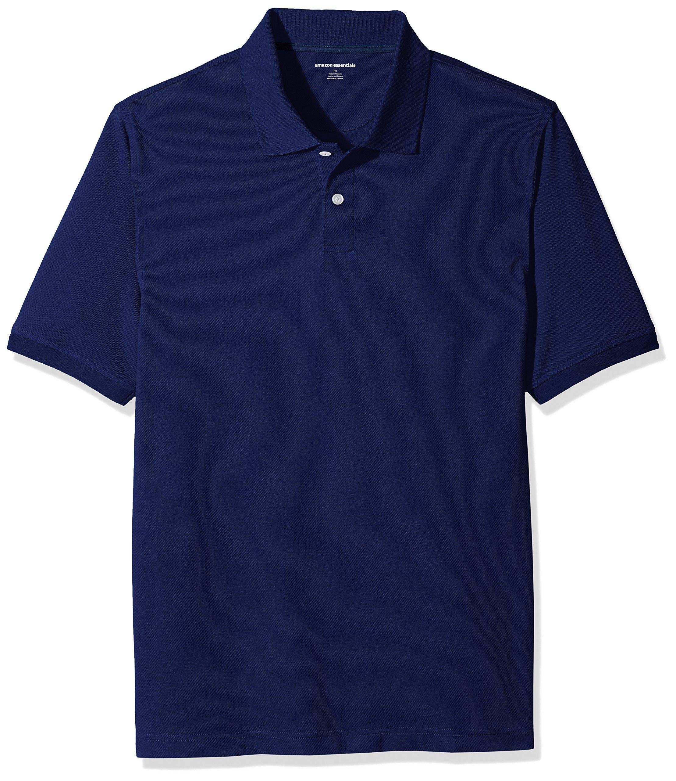 Amazon Essentials Men's Regular-Fit Cotton Pique Polo Shirt, Navy, Large