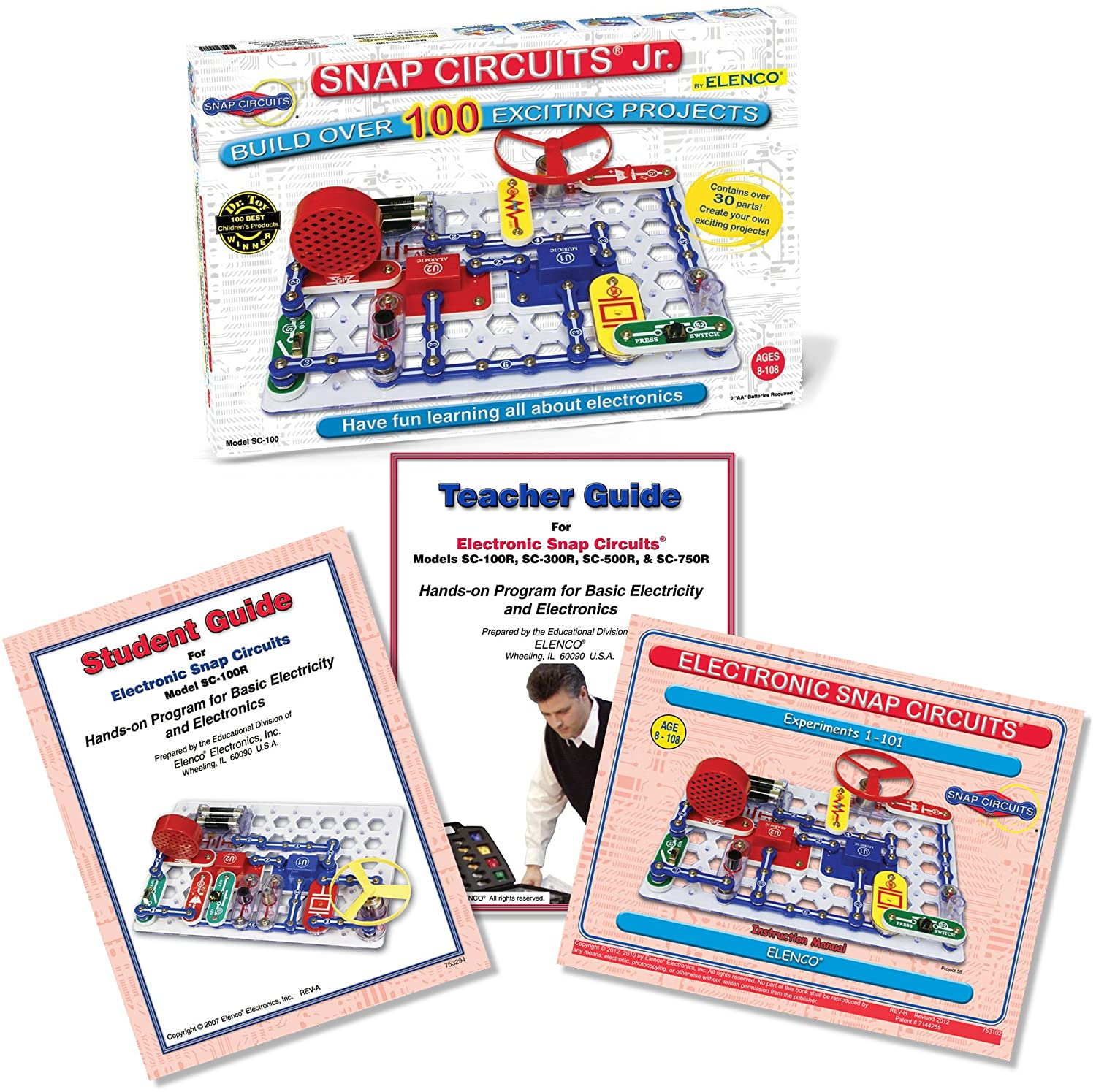 Snap Circuits Jr Sc 100 With Student Teacher Guides Amazoncom Sound Electronics Discovery Kit Toys Games