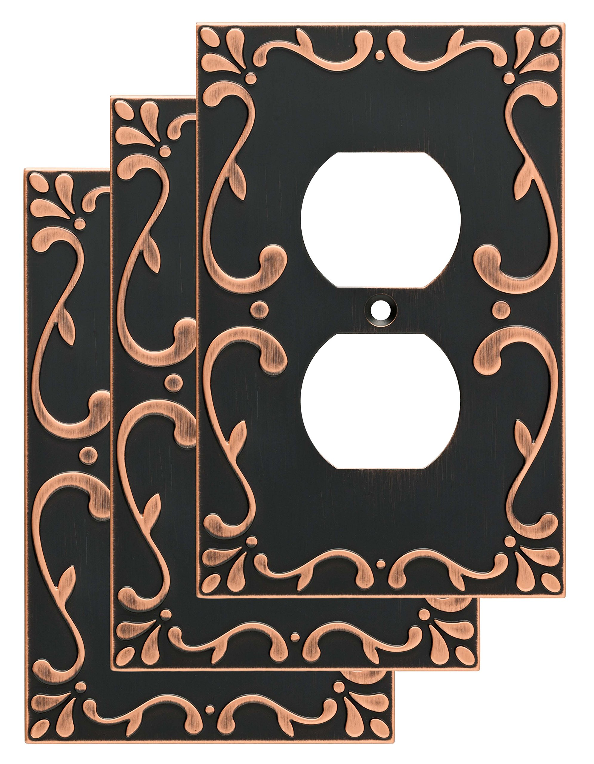 Franklin Brass W35071V-VBC-C Classic Lace Single Duplex Wall Plate/Switch Plate/Cover (3 Pack) with Copper Highlights, Bronze by Franklin Brass