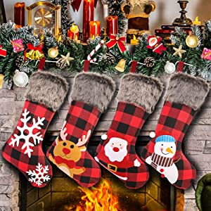 """Christmas Stockings Set of 4, 18"""" Large Xmas Stockings, Burlap Plaid Style with Snowflake Santa Snowman Reindeer and Plush Faux Fur Cuff Family Hanging Socks for Xmas Gift Holiday Season Party Decor"""