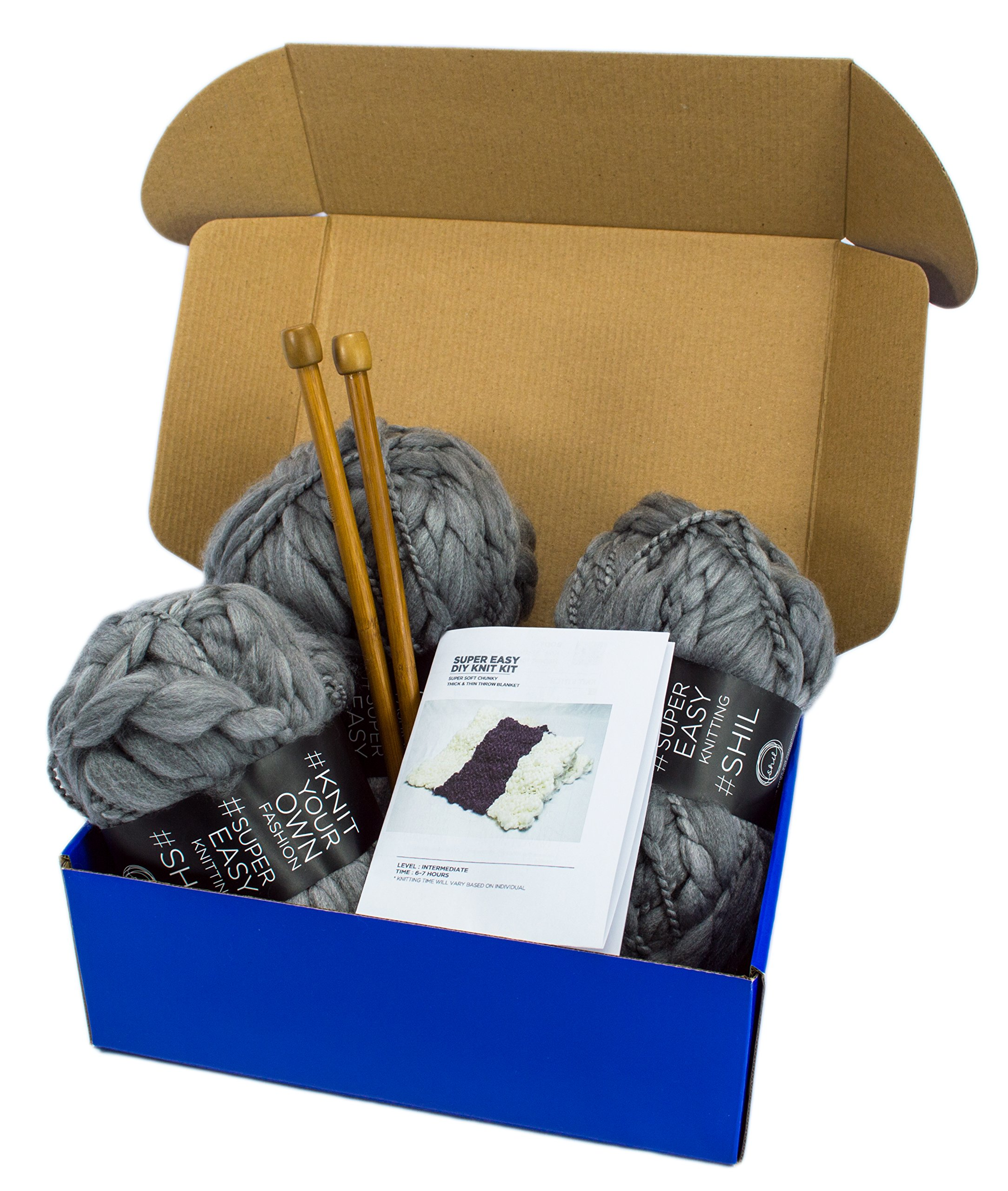DIY Knitting Blanket Kit Super Soft Thick and Thin Bulky Yarn US 15 Needles (Charcoal Grey)
