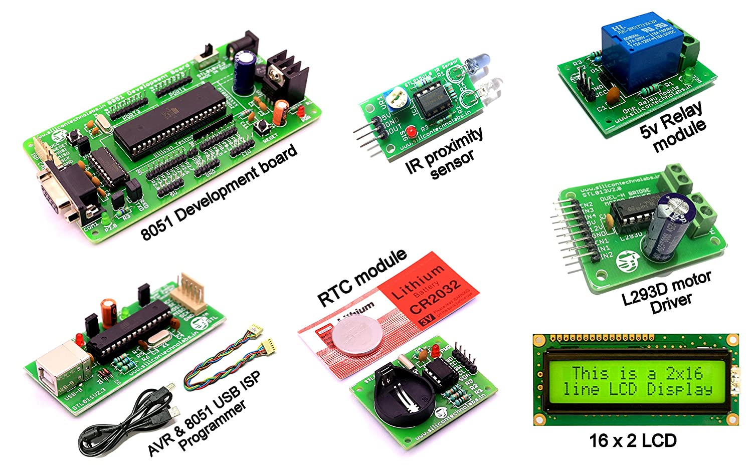 Silicon Technolabs 8051 Development Board With Programmer Ds1307 Rtc Lab 10 Dc Motor Interfacing To Picmicro Embedded Module 5v One Channel Relay Industrial Scientific