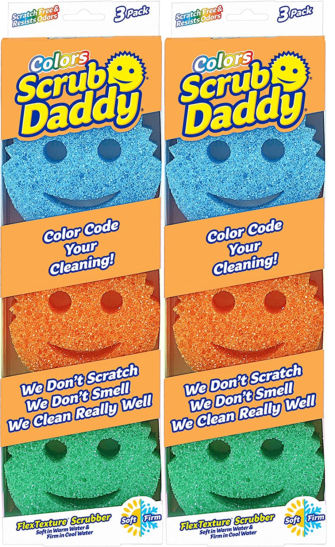 Scrub Daddy - Original Temperature Controlled Colored Scrubber - Scratch-Free and Odor Resistant - 6 Count