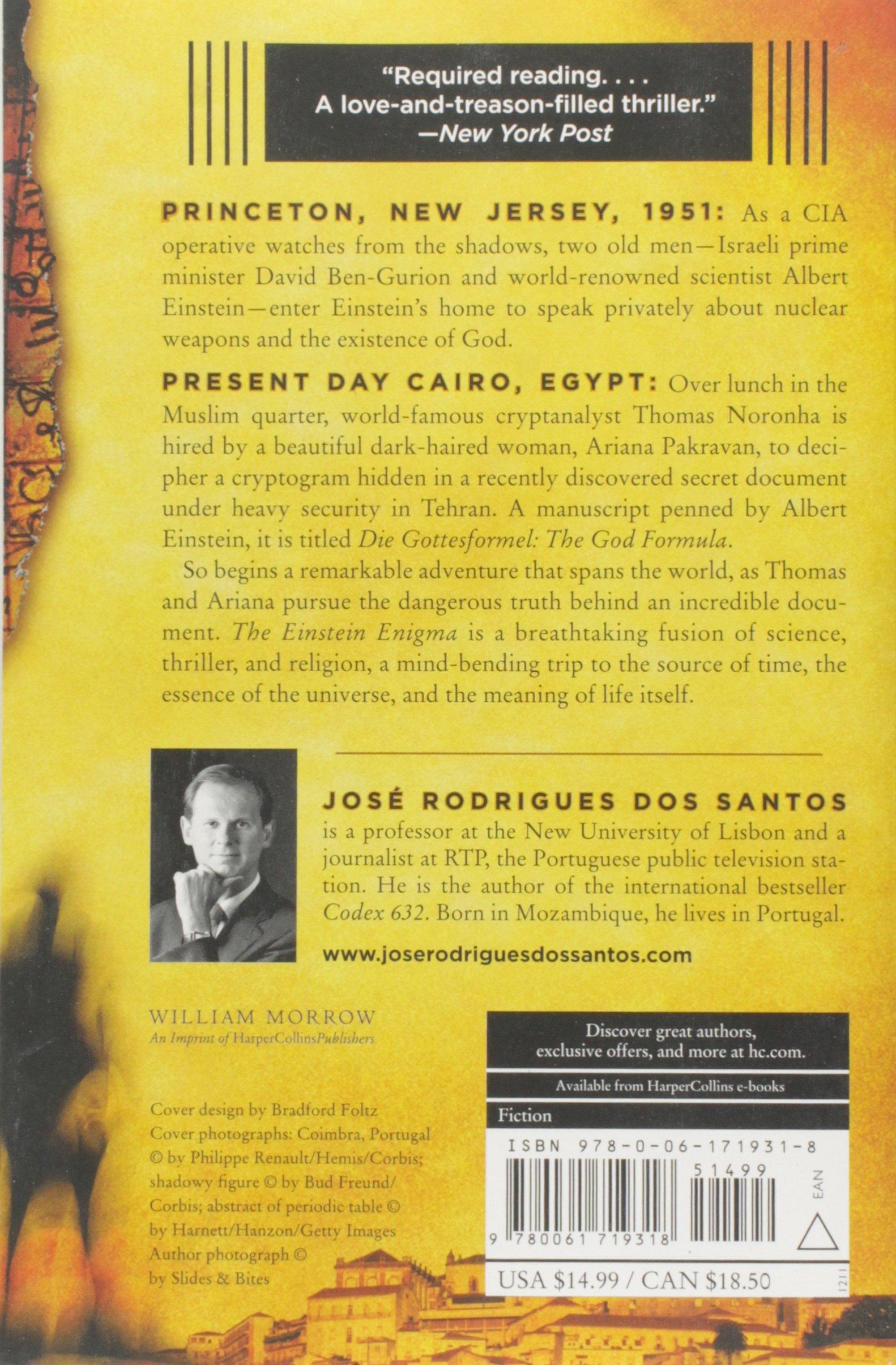 The Einstein Enigma: A Novel: Jos� Rodrigues Dos Santos, Lisa Carter:  9780061719318: Amazon: Books