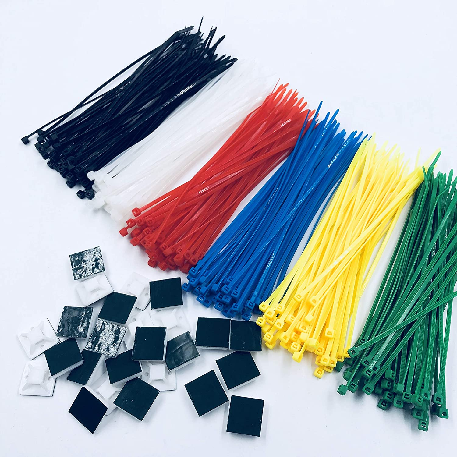 Nylon cable tie 6 kinds of color selection 15cm 100pcs and cable tie holder 25pcs red and blue