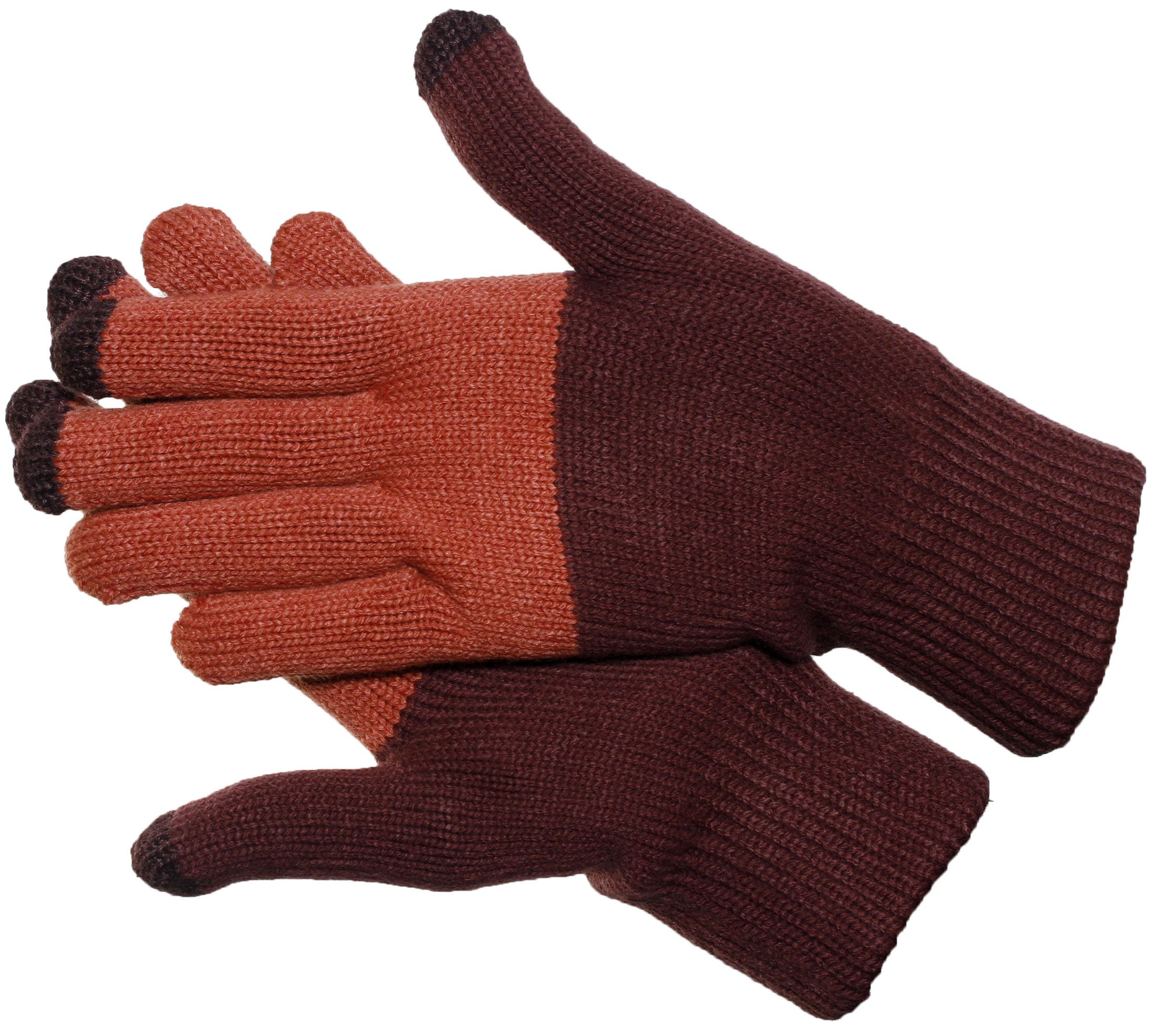 Verloop ColorBlock Touchscreen Gloves / Texting Gloves Warm Knitted (Plum)