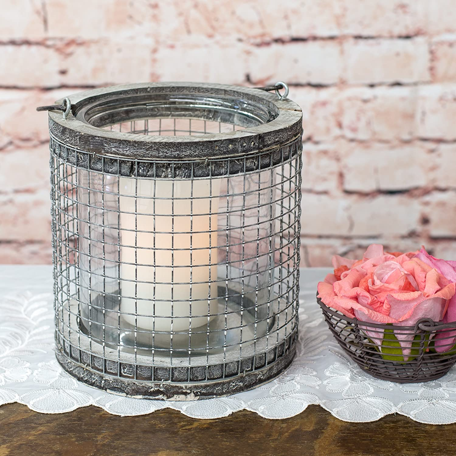 Large Round Mesh Chicken Wire 7 inch Natural Birch Lantern Decoration with Handle Honey and Me
