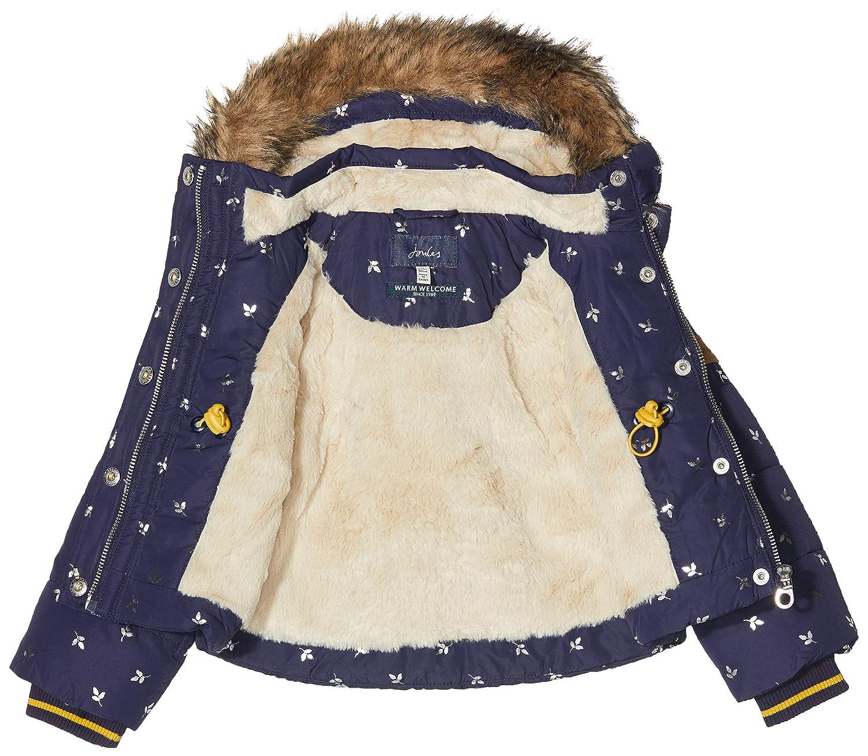 Joules Girls Stella Fleece Lined Padded Jacket Yr in NAVY HEART SPOT