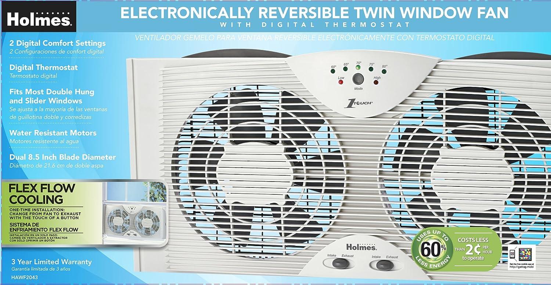 Amazon.com: Doble ventilador de la lámina de ventana doble con One Touch Termostato: Home & Kitchen