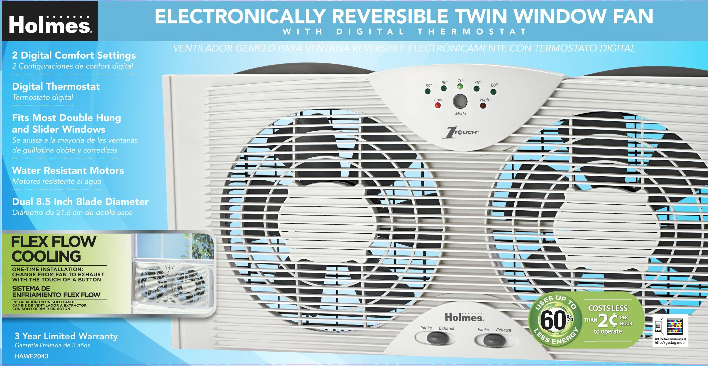 Holmes HAWF2043 Dual Blade Twin Window fan with One Touch Thermostat (Renewed) by Holmes