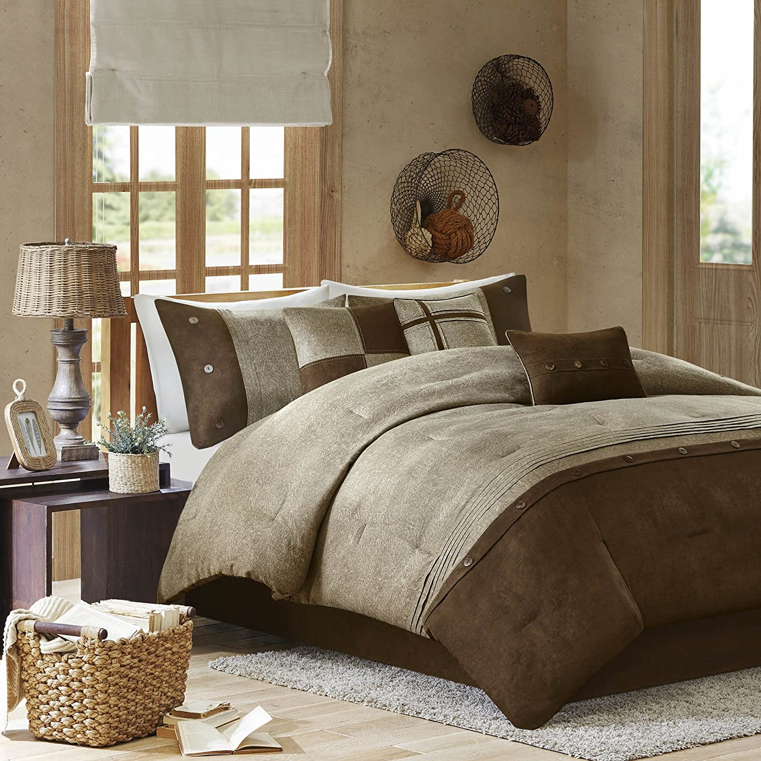 Brown bedding sets queen - Madison Park Boone 7 Piece Comforter Set Queen Brown