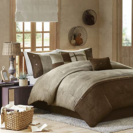 bedding dp sets com pieces in cal comforter bed set brown amazon king california chocolate suede