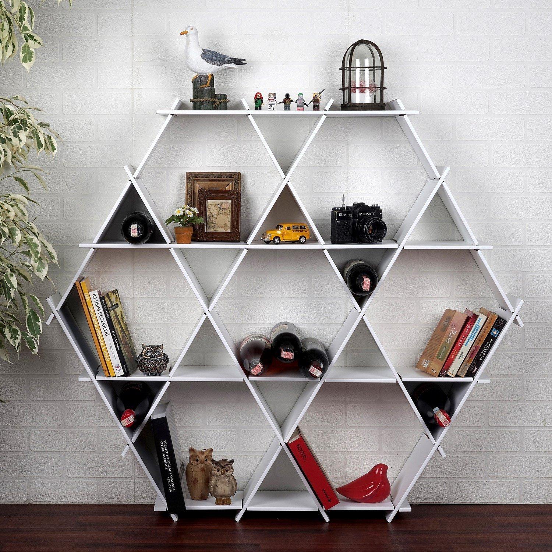 LaModaHome Cardboard Shelf 100% Corrugated Cardboard (45.3'' x 39.4'' x 6.7'') White Hexagon Triangle Living Room Decorative Design Storage Shelf Multi Purpose