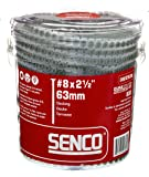Senco 08D250W DuraSpin Screw Number 8 by 2-1/2-Inch All Purpose Exterior Wood Collated Screw
