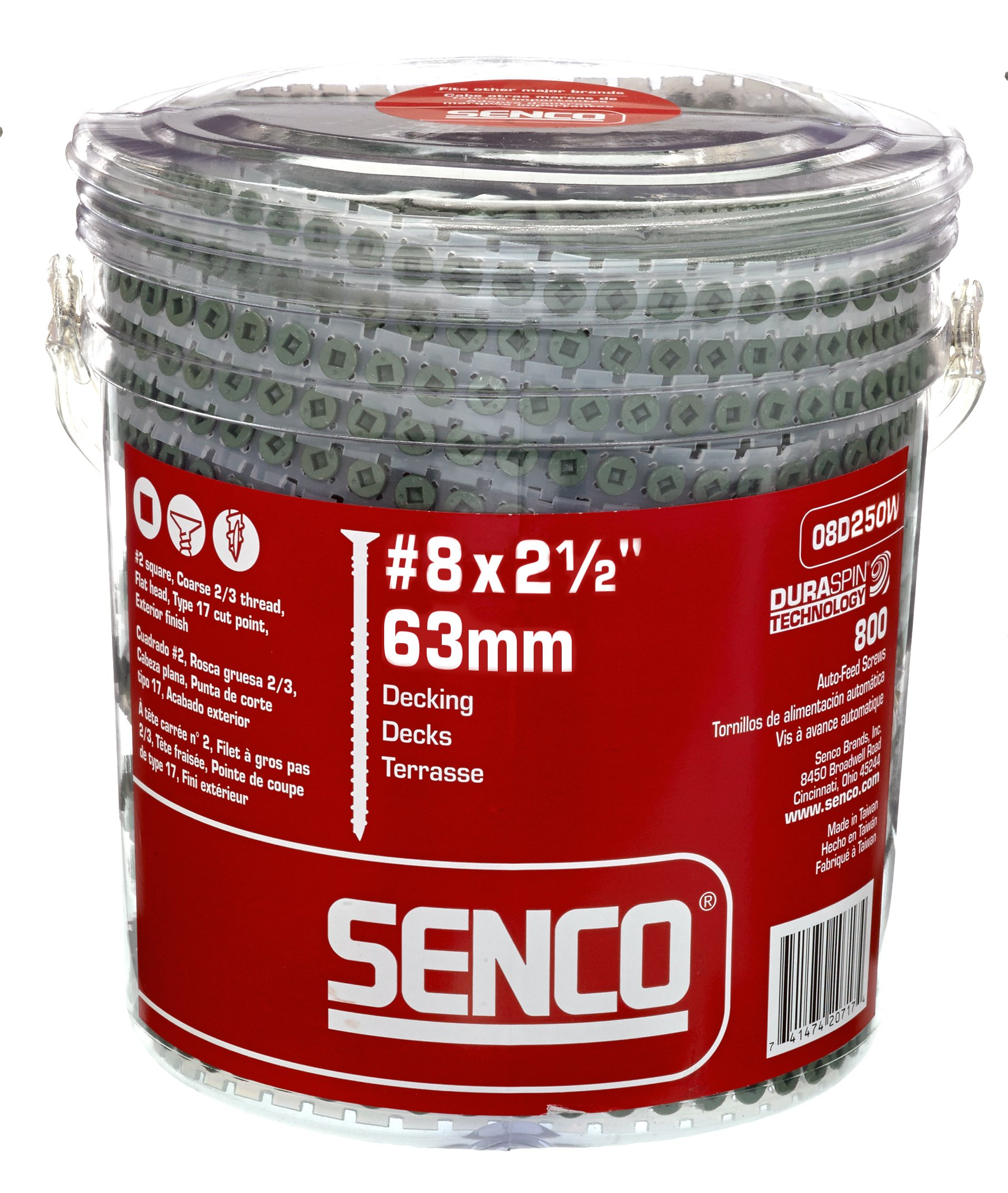 Senco 08D250W DuraSpin Screw Number 8 by 2-1/2-Inch All Purpose Exterior Wood Collated Screw (800 per Box) by Senco