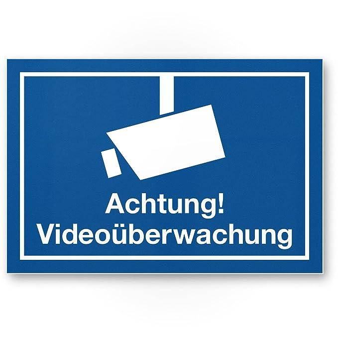 Advertencia Cartel de videovigilancia (Azul, 30 x 20 cm ...