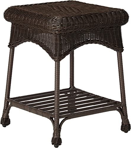 Outdoor Espresso Wicker Patio Furniture End Table
