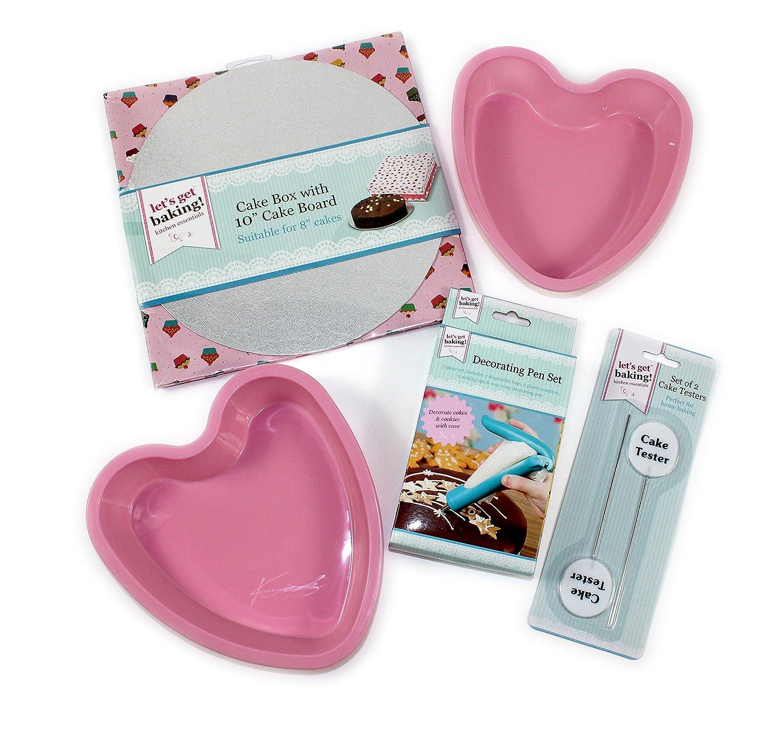 Heart Shaped Cake Baking Set, 2 silicone cake trays, Icing pen, 2 Cake testers, Cake Box Giftsbynet