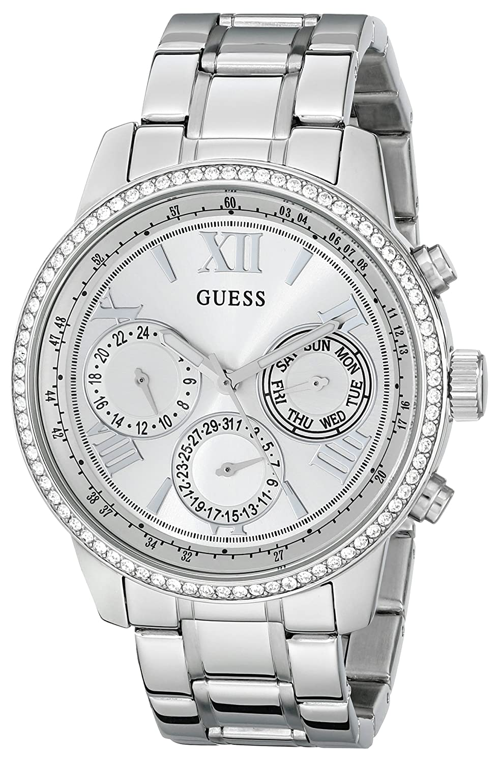 GUESS Women s U0559L1 Sporty Silver-Tone Stainless Steel Watch with Multi-function Dial and Pilot Buckle