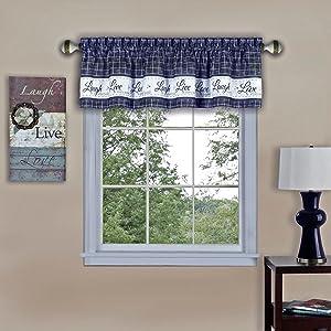 "Achim Home Furnishings Imports Live, Love, Laugh Window Curtain Valance, 58"" x 14"", Navy"