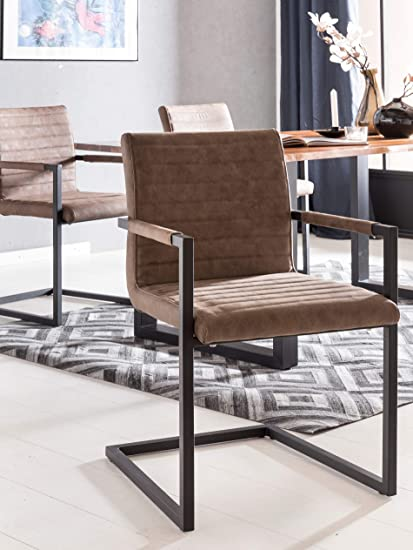SalesFever® Stilvoller Esszimmerstuhl im 2er Set Alessia in Chocolate, Stuhl mit Armlehnen und Kunstleder bezogen, Massive sc