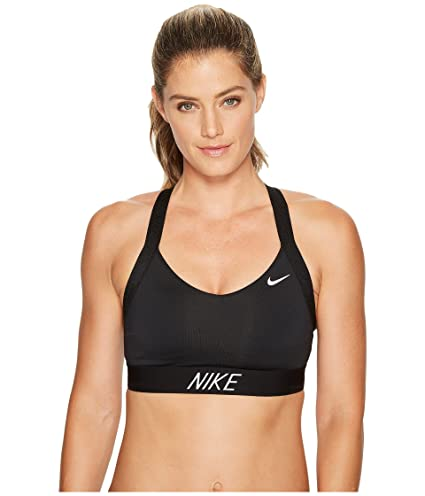 Nike Pro Indy Logo Back Sujetador Deportivo, Mujer, (Negro/Blanco),