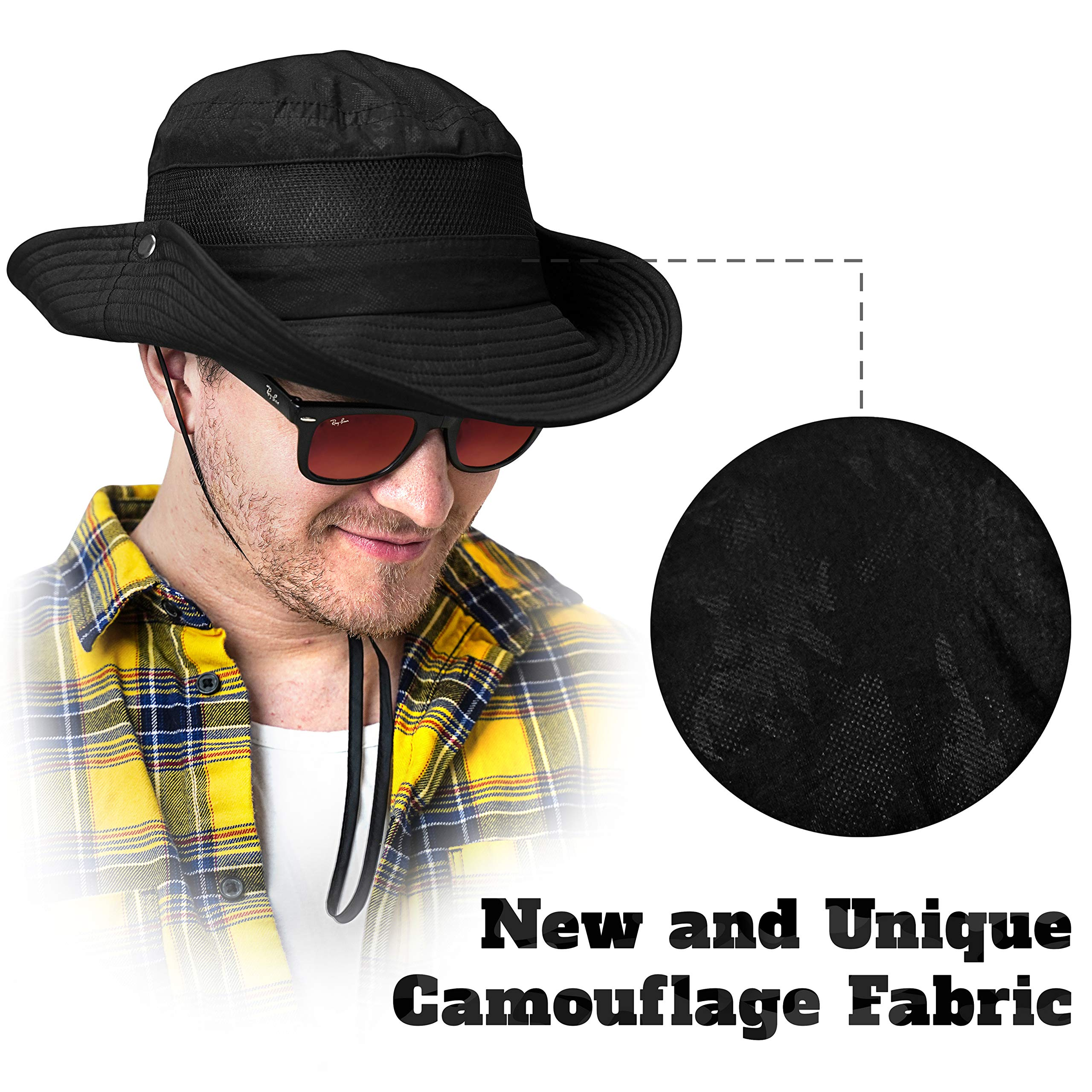 GearTOP Sun Hat for Men | Camo Hunting Hat and Safari Cap (Black Camouflage Design) by GearTOP (Image #6)