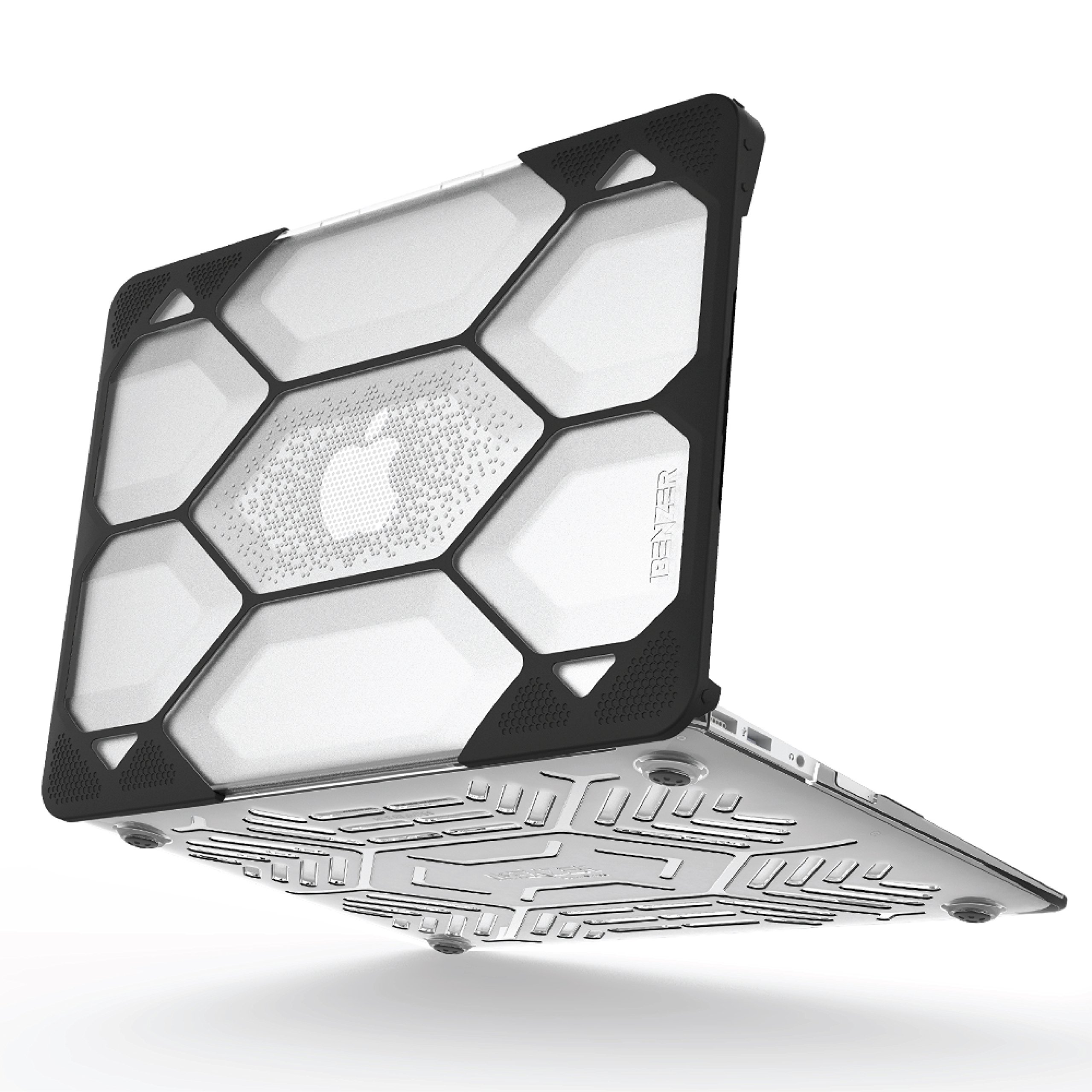 iBenzer Hexpact Dual Layer Design Full-body Rugged Protective Case for MacBook Air 11 A1370/A1465 Clear (LC-HPE-A11CL)