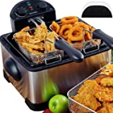 Secura 4.2L/17-Cup 1700-Watt Stainless-Steel Triple-Basket Electric Deep Fryer with Timer Free Extra Oil Filter