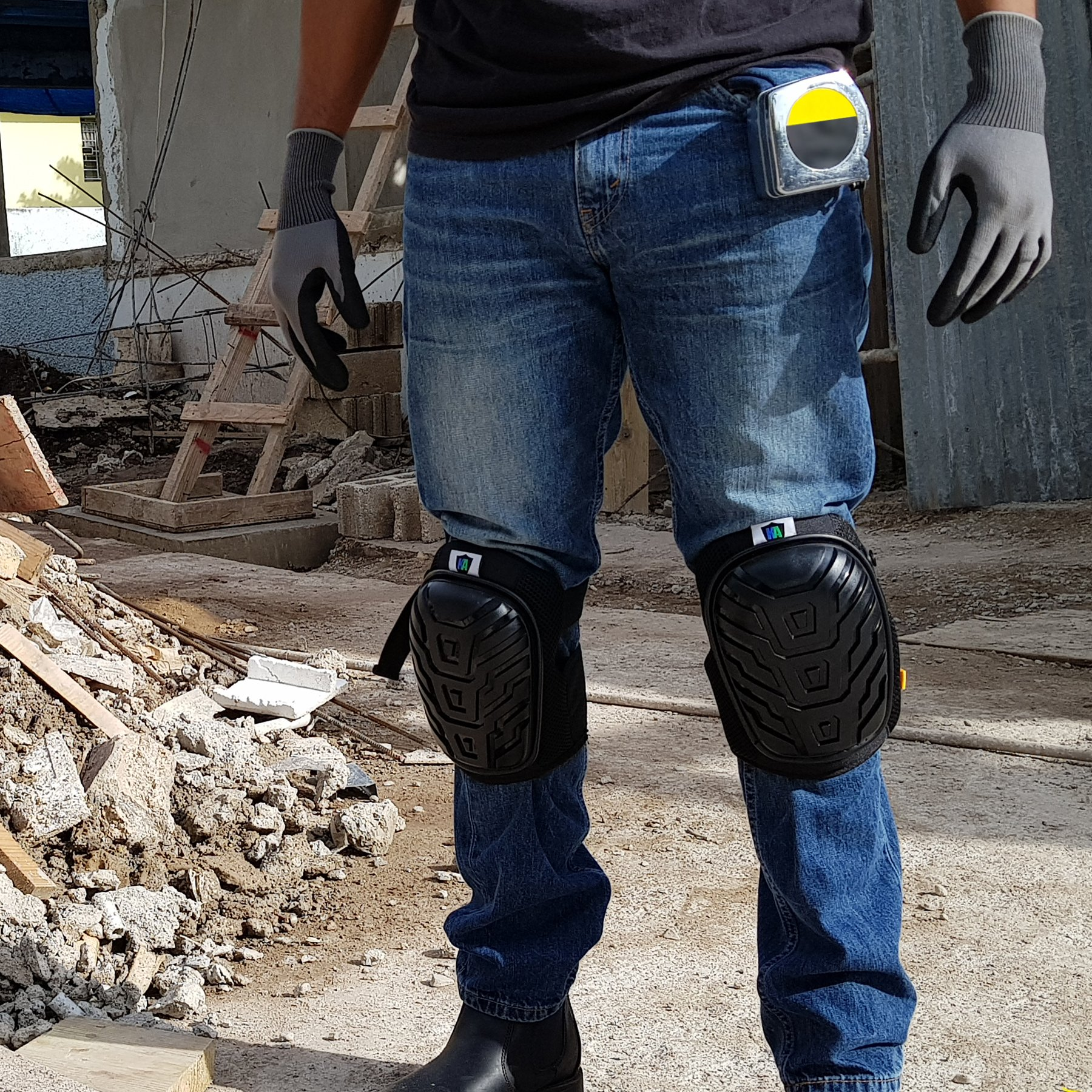 Knee Armor Heavy Duty Professional Knee Pads with Gel Cushions, EVA Foam, Adjustable Straps, Bonus Protective Gloves. Superb Knee and Hand Protection. Perfect for Construction, Gardening and More by Knee Armor (Image #5)