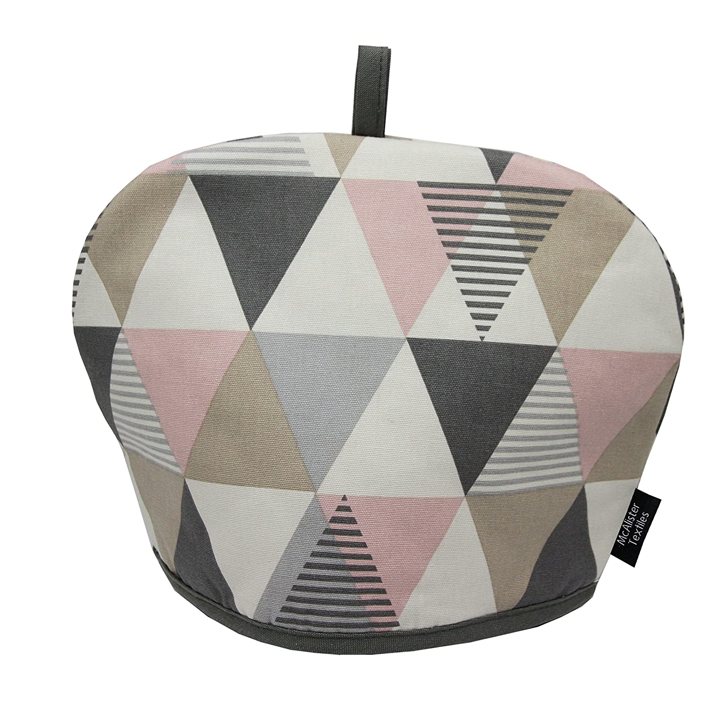McAlister Textiles Copenhagen Vita Tea Cosy | Blush Pink Funky Geometric Scandinavian Design Decorative Cotton Teapot Warmer
