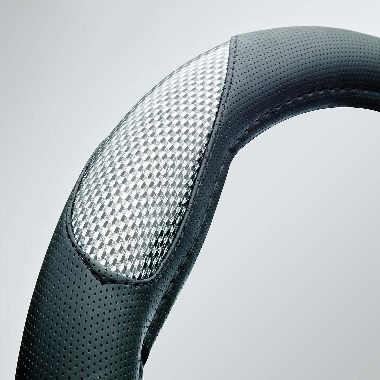 Car Steering Wheel Cover Glove Black Grey Silver Carbon Fibre Look Race Sport