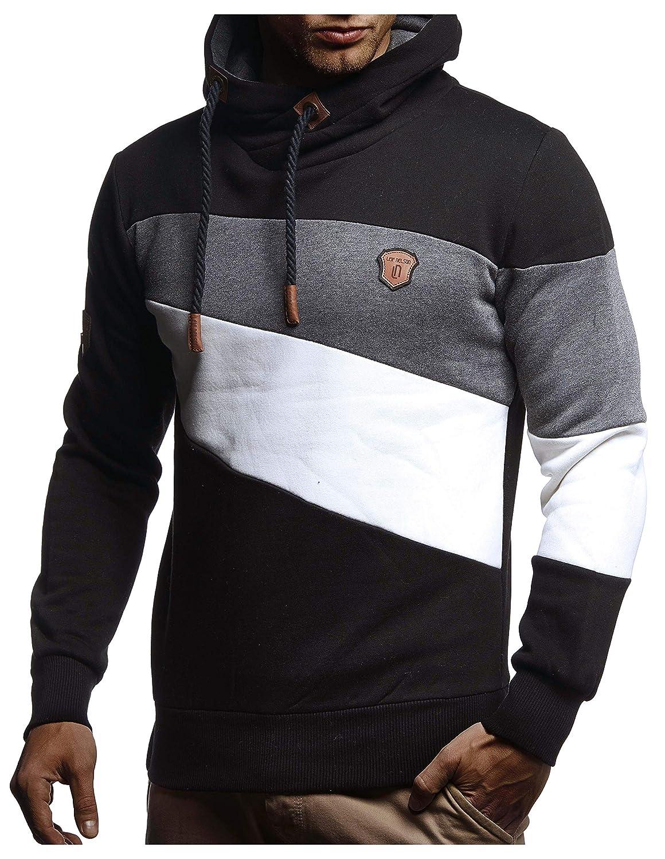 LEIF NELSON Herren Pullover-Hoodie Schalkragen | Moderner Sweatshirt-Kapuzenpullover | Männer Pulli Slim Fit LN8245