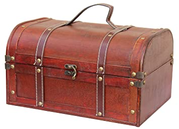 vintiquewisetm decorative wood treasure box wooden trunk chest - Decorative Wood