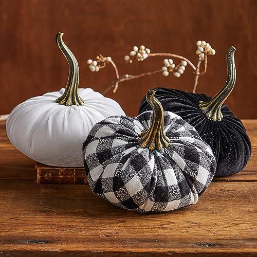 Home Fall Decor Fabric Pumpkin White Black Plaid Flannel