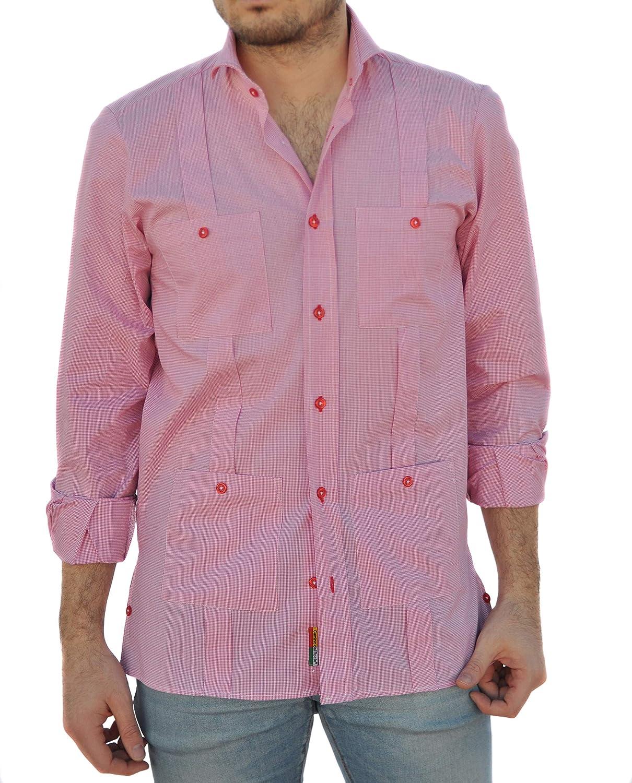 Camisa Guayabera Caballero Cuadro Vichy Rojo (S): Amazon.es: Ropa y accesorios