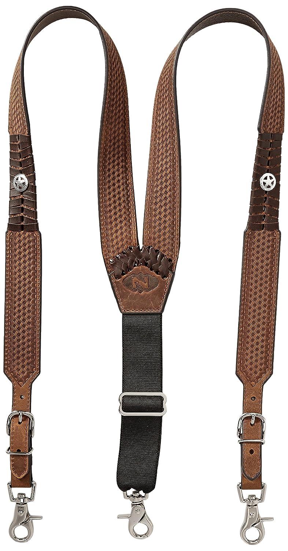 Nocona Belt Company mens Star Basket Leather Suspender Ariat Men' s Accessories N85126