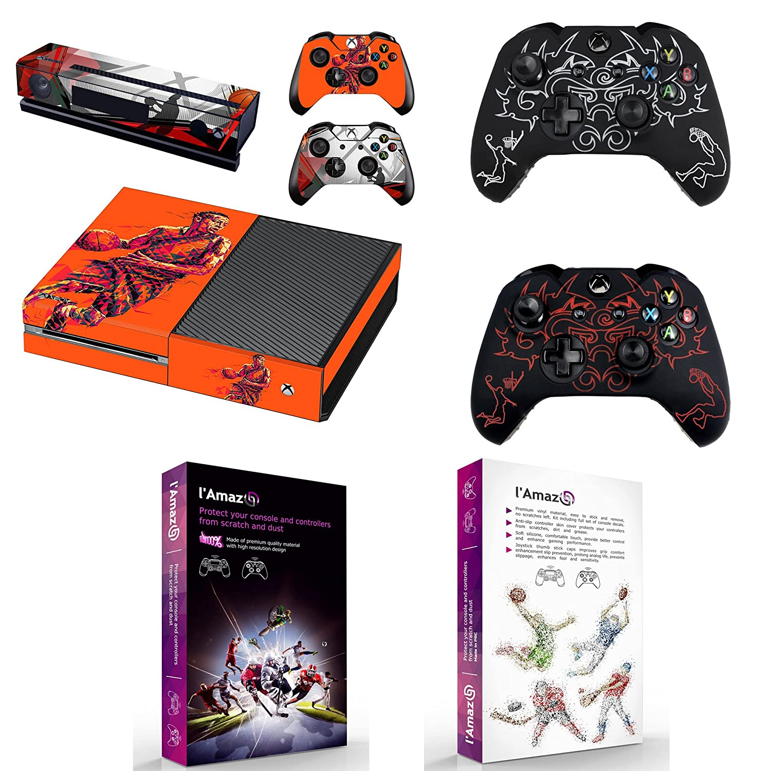 Lamazo custom protective xbox one skins bundle gift set of console vinyl decals stickers and 2x controller silicone cover cases in retail box gamer kit